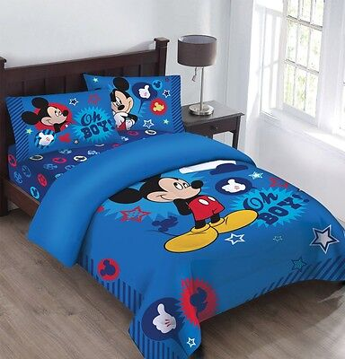 Disney Mickey Mouse Oh Boy 3 Piece Super Soft Twin Comforter Set w/Fitted Sheet