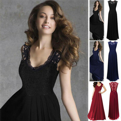 Long Women's Lace Evening Party Formal Bridesmaid Prom Gown Dress