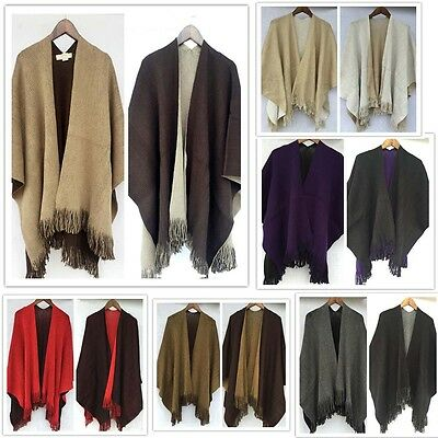 Women Cape Poncho Fringe Blanket Wrap Boutique Knitted Shawl Coat Cloak