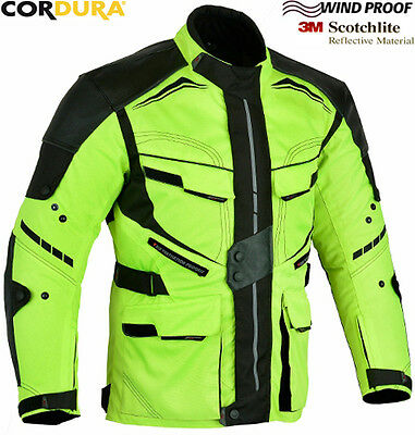 FULL HiViz SPEED RIDER CE ARMOUR MENS MOTORBIKE MOTORCYCLE TEXTILE JACKET / COAT