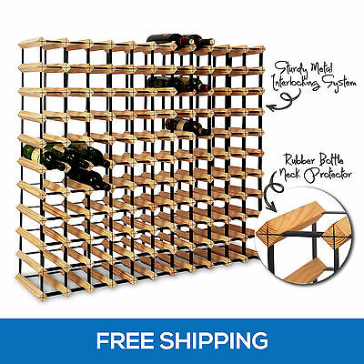 120 Bottle Timber Wine Rack Complete Wooden Storage Cellar Organiser Stand