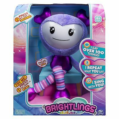 """Brightlings, Interactive Singing, Talking 15"""" Plush, Purple, by Spin Master"""