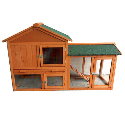 New 140*49*85CM Rabbit Hutch Guinea Pig House Ferret Cage Chicken Coop Run P051
