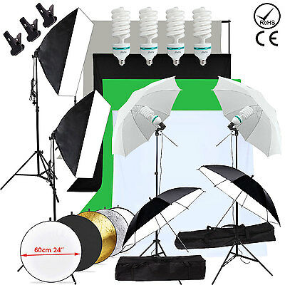 2700W Photo Studio Softbox Continuous Lighting Kit Backdrop Umbrella Stand Set