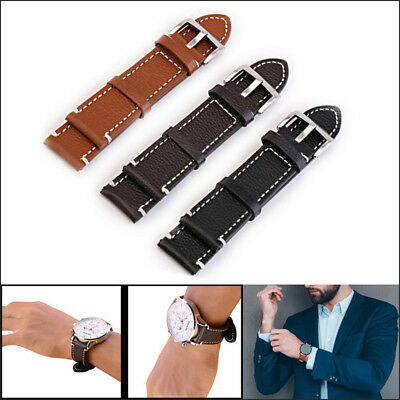 Crazy Genuine Leather Vintage Style Watch Strap Band Mens Stainless Steel Buckle