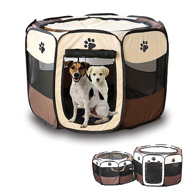 Fabric Pet Play Pen Dog Cat Puppy Playpen Kennel Run Cage Tent Foldable Fence KI