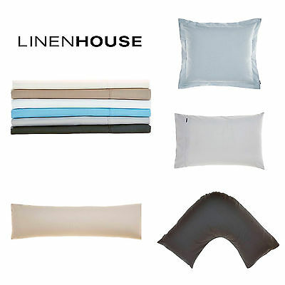LINEN HOUSE 250TC 100% Cotton Pillowcases STANDARD BODY USHAPE EUROPEAN 6 COLOUR