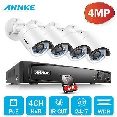 ANNKE 3TB Hard Disk 4CH 6MP NVR 4MP Security Camera System True WDR ROI Ethernet