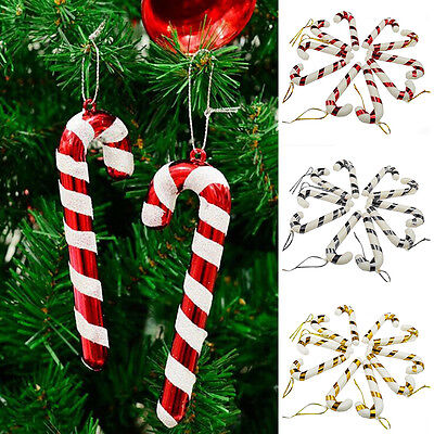 Outdoor Christmas Candy Cane Ornaments Party Xmas Tree Hanging Decor