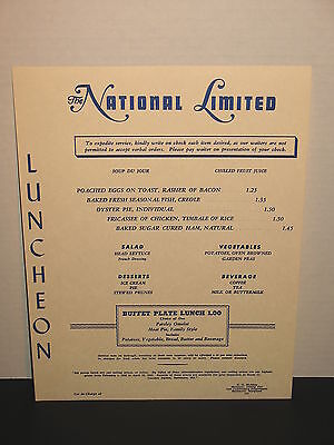 Baltimore & Ohio Railroad The National Limited Luncheon Dining Car Menu
