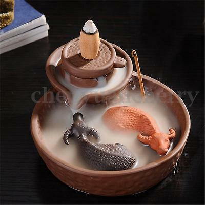 New Purple Clay Incense Burner Censer Holder With Backflow Tower Incense Cone