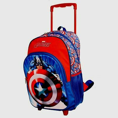 Captain America Trolley Wheelie Suitcase Luggage Travel School Bag for Kids Marv