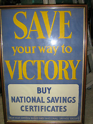 Framed Save Your Way To Victory poster - National Savings Certificates