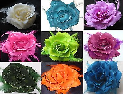 Rose Flower Feather Fascinator Hair Elastic & Pin / Wrist Corsage