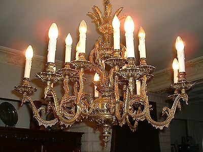 "Vintage large French bronze chandelier 34"" wide 8 arms 16 light Stunning"