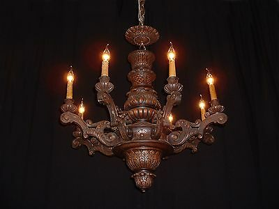 Antique large French hand carved beech wood chandelier with wood canopy