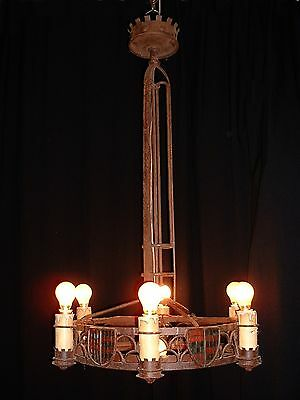 Antique large French wrought iron medieval style chandelier