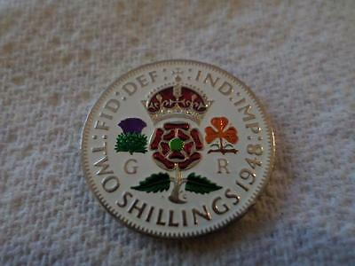 Lucky Charm Vintage Hand Painted Two Shilling Coin. Birthday Christmas Gift