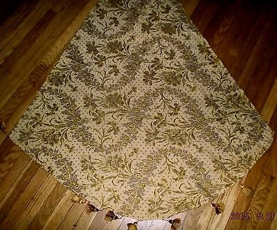 Antique 19th c French cotton&silk brocade fabric/panel with handmade tassles~