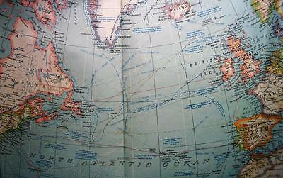 The National Geographic Society Map Of The Atlantic Ocean 1941 Wwii Vintage