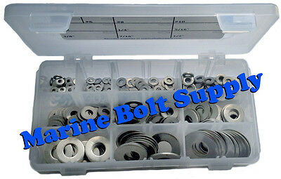 """Stainless Steel Flat Washer Assortment Kit (Sizes #4 to 1/2"""")"""