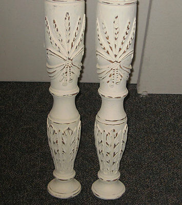 Antique vintage SHABBY Carved  chic POSTS  **quality** BED, Fireplace, Pedestal