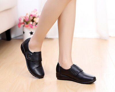 Size 7.5 Women's ladies comfort leather flat black nursing/ casual shoes-Layla