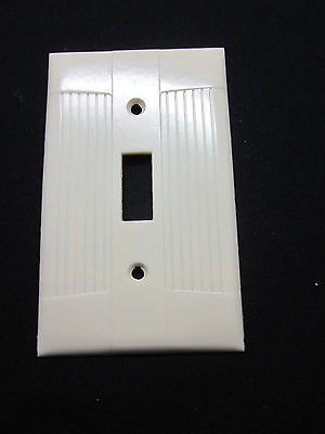 Vintage Eagle Tuxedo Ribbed Ivory Bakelite Switch Plate Cover Art Deco Classic