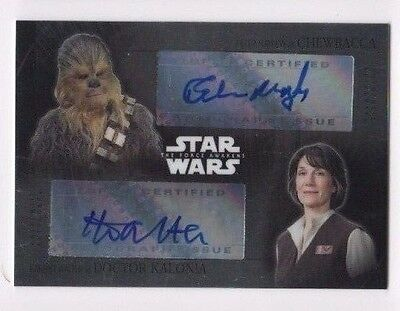 2016 Star Wars Chrome Force Awakens dual autograph Peter Mayhew H. Walter 3/3 SP