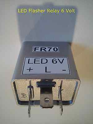 6V LED Flasher Relay 3 Pin Moped Motorcycle 6 Volt Turn Signal Light FR70