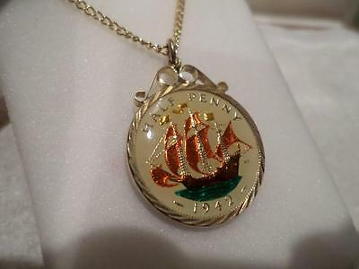 Vintage Enamelled Half Penny Coin 1942 Pendant & Necklace. Birthday / Xmas Gifts