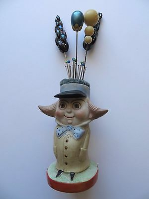 Antique Victorian Beige Blue Multi-coloured 'Mr Tuxedo' Hatpincushion w/ Hatpins