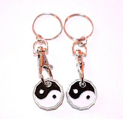 Ying Yang Keyring Keychain Bag Charm Gift Engraved with Cat /& Dog Paw Print Blac