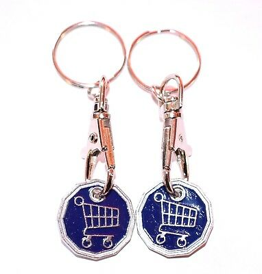 2 Pack Funky Trolley One Pound Coin Token Keyring Shopping Trolley Keyring