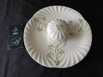 Belleek Shamrock Plate and Covered Dish Excellent Condition