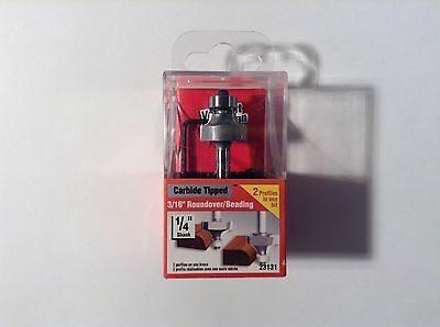"Vermont American 23131 Carbide Tipped, 3/16"" Roundover/Beading Router Bit"