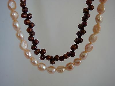 Pink & bronze cultured pearls. One strand of each