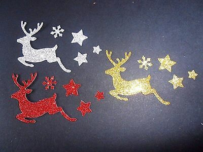 Sparkly Diecut Xmas Reindeer Stars Gold Silver Red Embellishments Toppers Crafts
