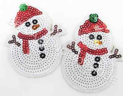 1 Embroidered Xmas Christmas Snowman Sequin Iron On Sew On Patch Clothes Craft