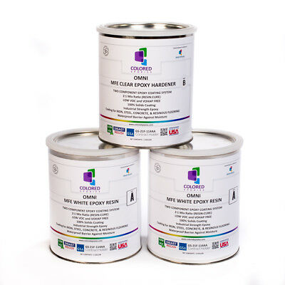 White Epoxy Resin 100% Solids For Garage Floor,concrete,plywood.3 Gal Kit