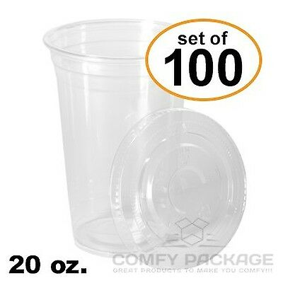 COMFY PACKAGE 100 Sets 20 Oz. Plastic CRYSTAL CLEAR Cups with Flat Lids New