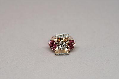 Antique 14k rose gold & 14k white gold with diamonds and rubies ring