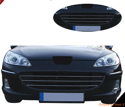 Peugeot 407 SW Saloon Coupe 6D 6E 6C CHROME Kit Front Grille Covers Trim Tuning