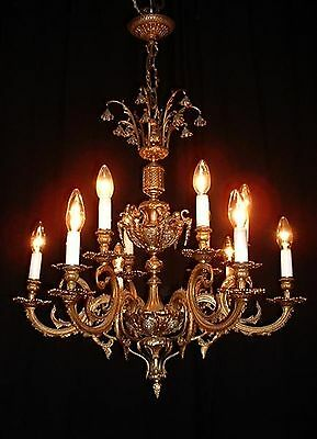 Vintage French bronze chandelier with cherubs and bells