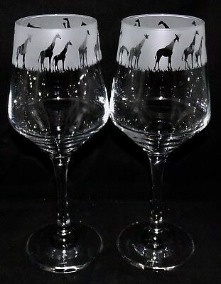 New Etched 'Giraffe' Wine Glass(es) * Can be gift Boxed * Beautiful Gift (WA17)