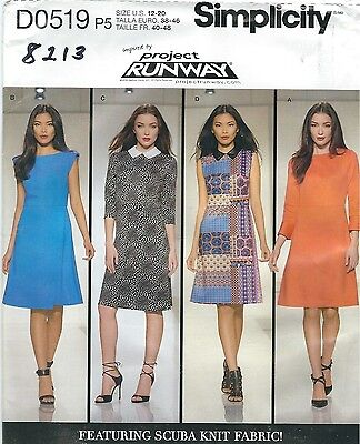 Simplicity 0519 8213 Misses Knit Dress With Bodice Variations