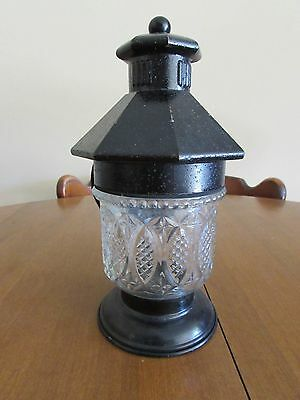 Antique Black Paint Over Brass With Cut Glass Shade Porch Light Fixture-Nice