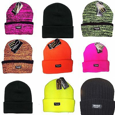 baa76746af81f3 Unisex Mens Womens Warm Knitted Winter Woolly hat Fluorescent Fleece Lined