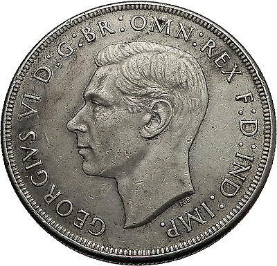 1937 AUSTRALIA - Big SILVER CROWN Coin - Great Britain UK King George VI  i57935