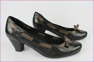 Court shoes HEYRAUD Black Leather et Taupe T 40 VERY GOOD CONDITION